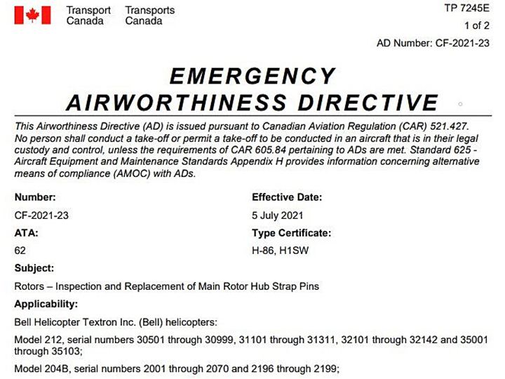 Transport Canada issued an emergency airworthiness directive this week aimed at four types of Bell helicopters following a fatal crash in Alberta last month.