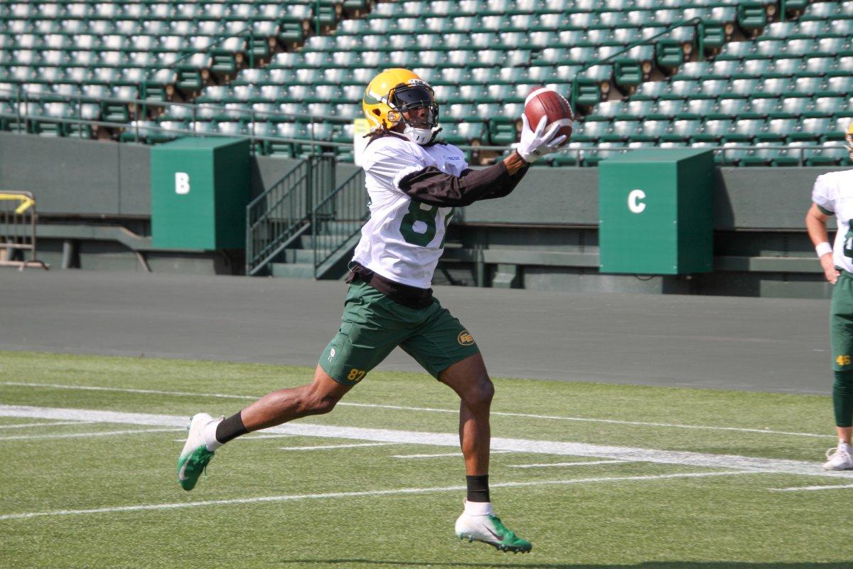 Edmonton Elks receiver Derel Walker catches a ball during 2021 training camp.