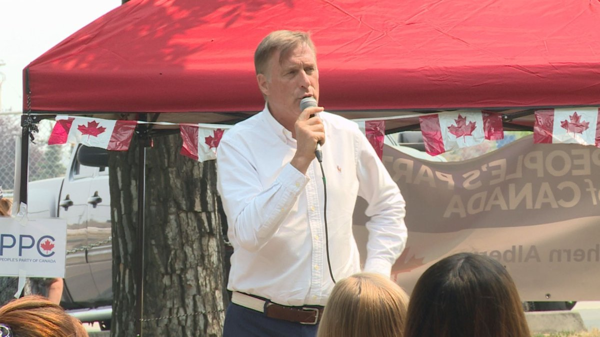 Maxime Bernier, leader of the People's Party of Canada, speaks to a large crowd in Lethbridge on Sunday, July 25, 2021.