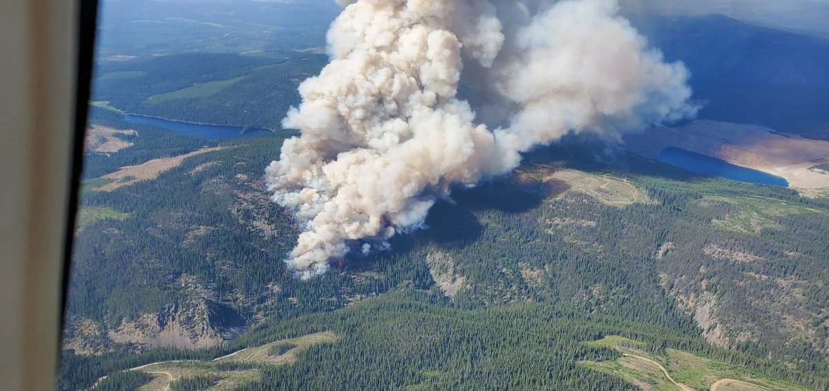 The Brenda Creek wildfire is burning out of control off Highway 97C.