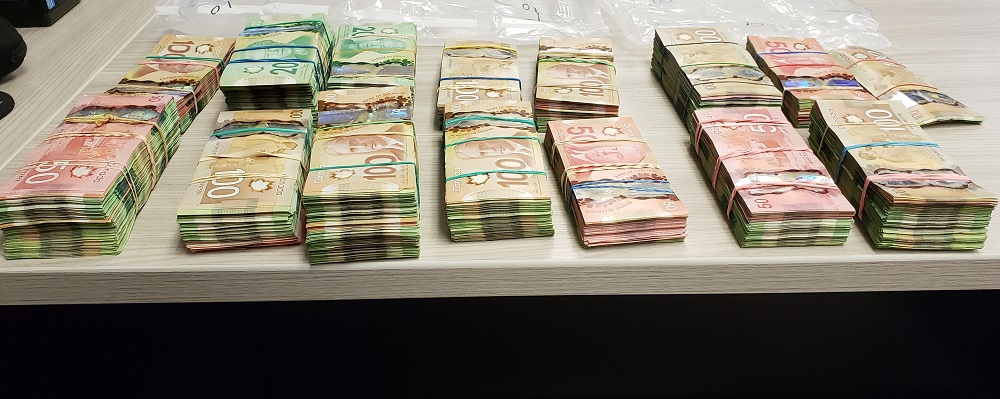 RCMP seized $140,000 worth of Canadian bills on Jul. 16 after an officer pulled over an Alberta driver going 164 km/h near Wolseley, Sask. He also faces drug charges.