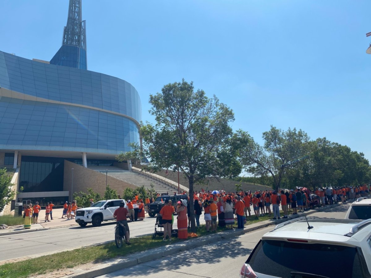Participants gather outside the Canadian Museum for Human Rights in preparation for a memorial walk.