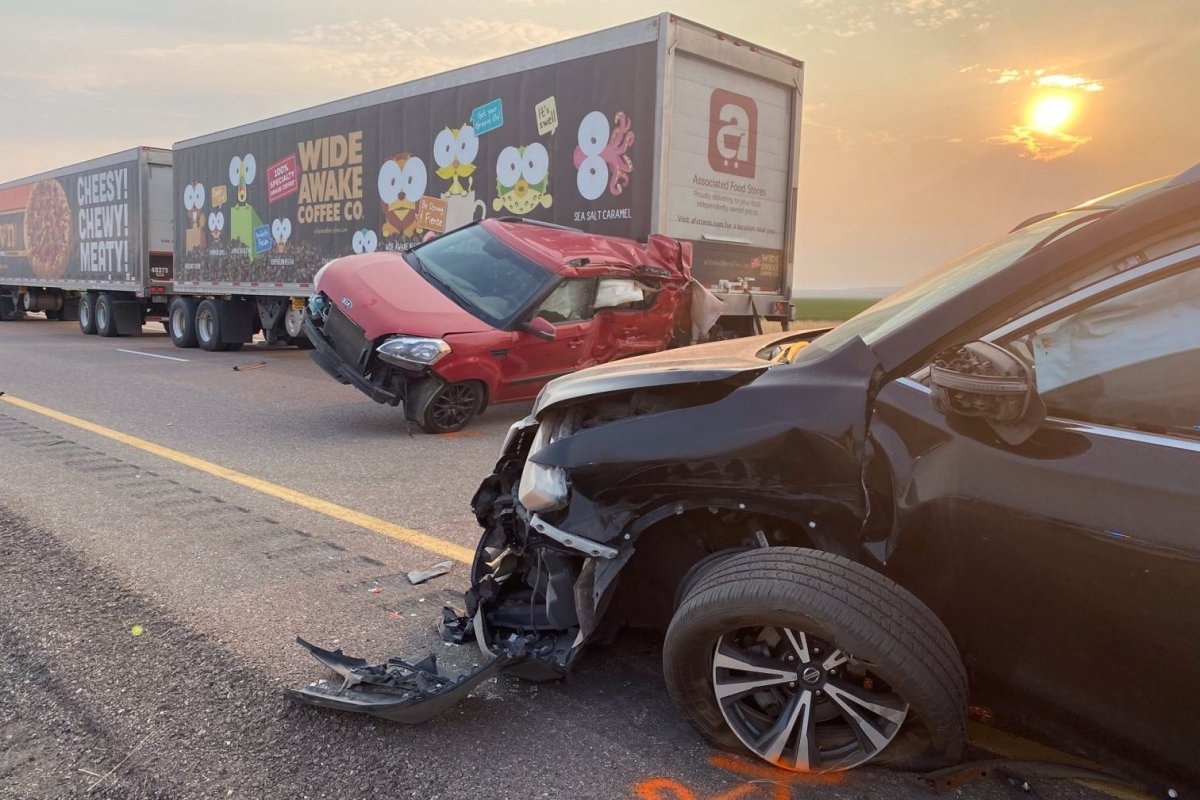 Two damaged vehicles are shown after a major crash on Interstate 15 near Kanosh, Utah on July 25, 2021.