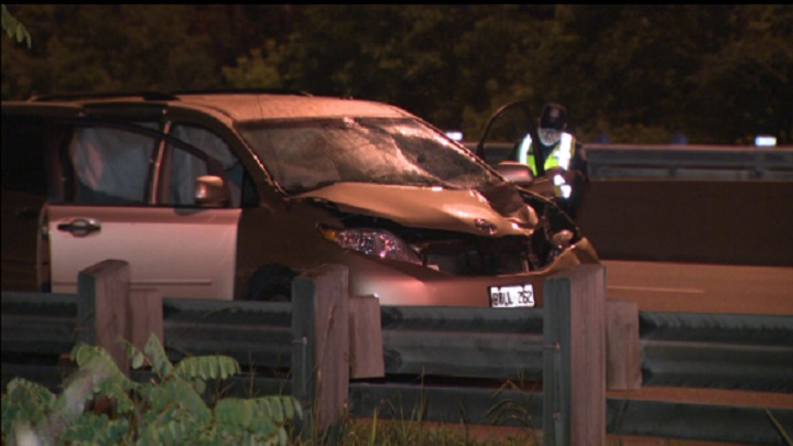 The scene of the collision on the Don Valley Parkway.