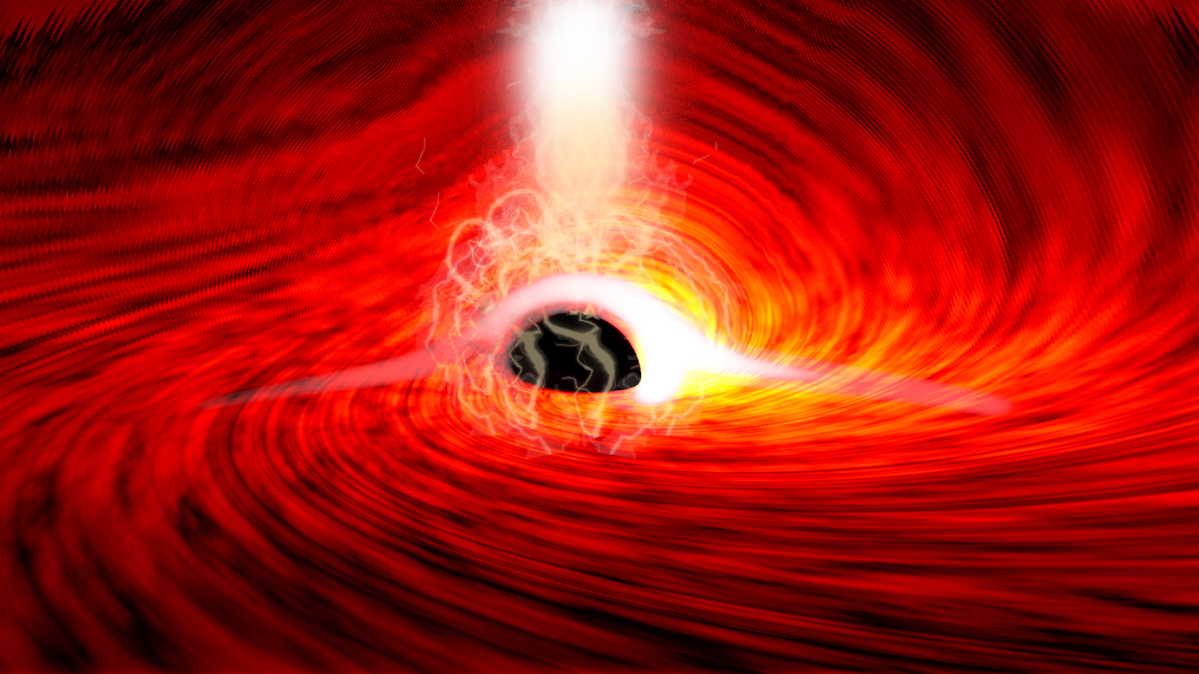 This illustration shows bright flares of X-ray emission, produced as gas falls into a supermassive black hole.