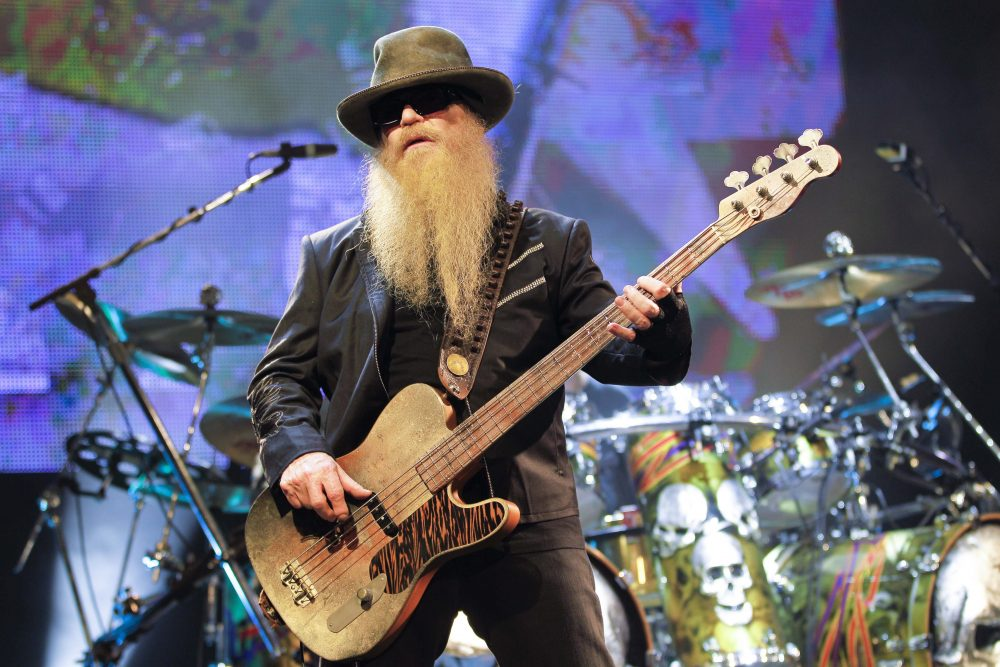 ZZ Top's Dusty Hill (bass and vocals) performing on stage at Olympia concert hall in Paris, France, on July 27, 2012.