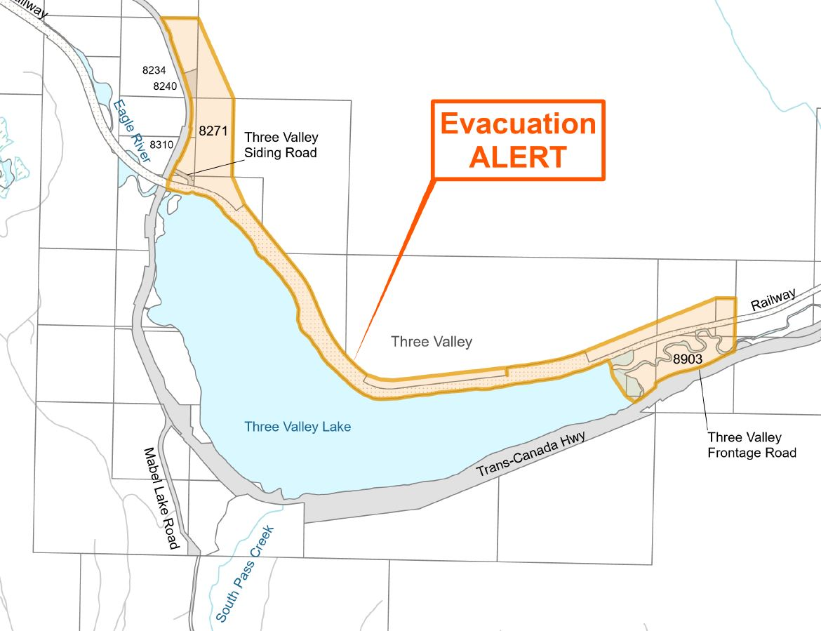 An evacuation alert has been issued by the Columbia Shuswap Regional District for the Three Valley Lake area as a wildfire threatens people and property.
