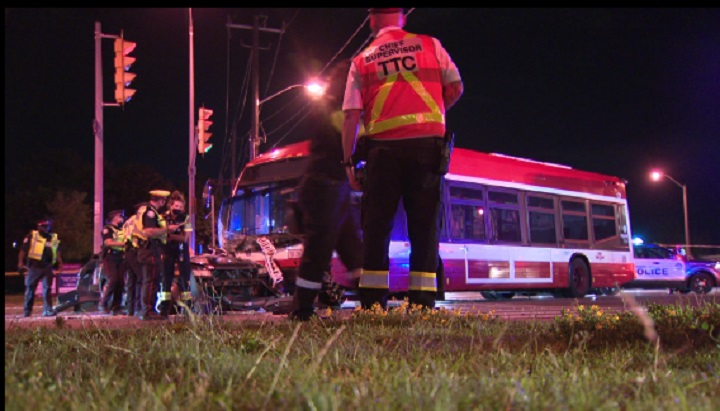 The scene of the collision in Scarborough early Sunday.