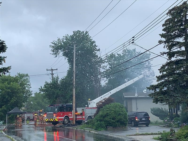 Montreal fire fighters respond to a fire on Gouin Boulevard at a residence in RDP