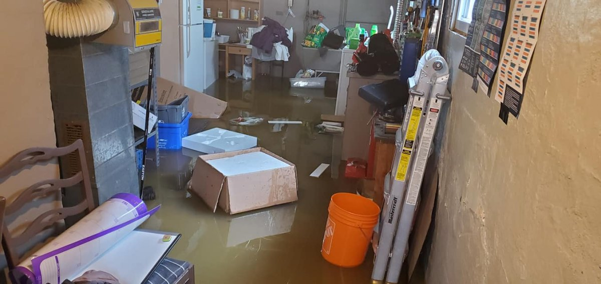 A photo of Alanah Claus' flooded basement.