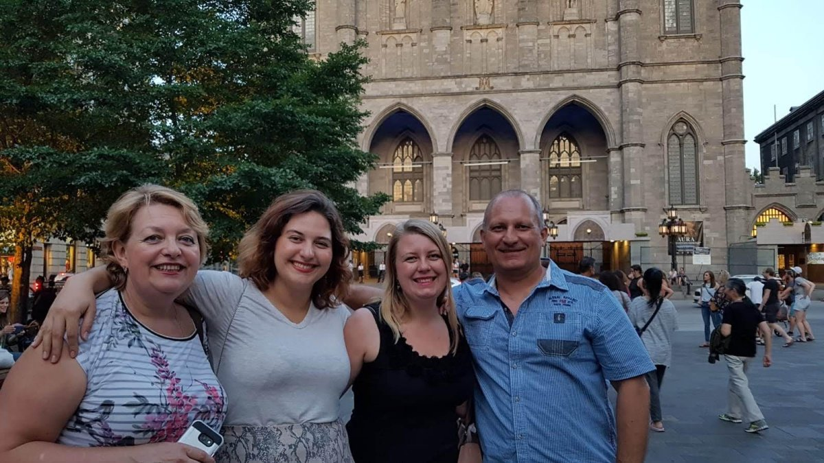 Anastasia Gromova (second from left) with her mother Larysa (left), sister Anna (second from right) and father Sergiy (right) in Montreal.
