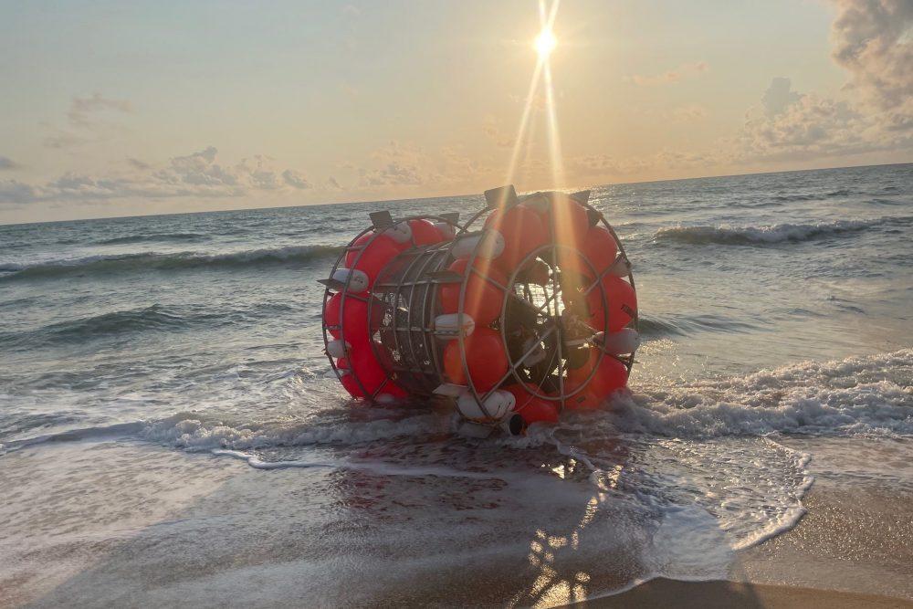 Reza Baluchi's 'hydro bubble' is shown on a beach in St. Augustine, Fla., on July 24, 2021.