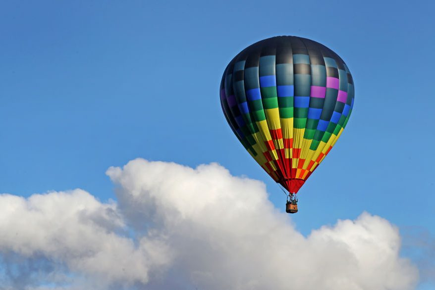 Riders are shown in a hot air balloon in this Oct. 12, 2017 file photo captured in Vermont.