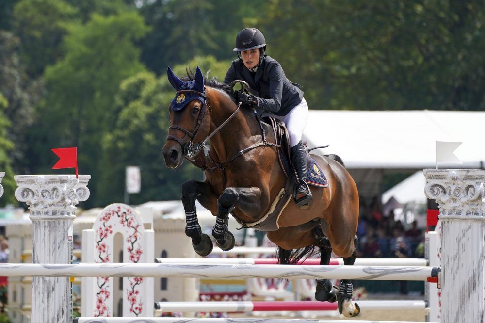 Jessica Springsteen riding Don Juan van de Donkhoeve competes in the Manama Speed Stakes at the Royal Windsor Horse Show, Windsor.