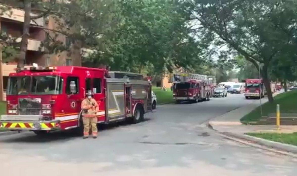 Firefighters at the scene of a blaze on Kipps Lane on July 19, 2021.