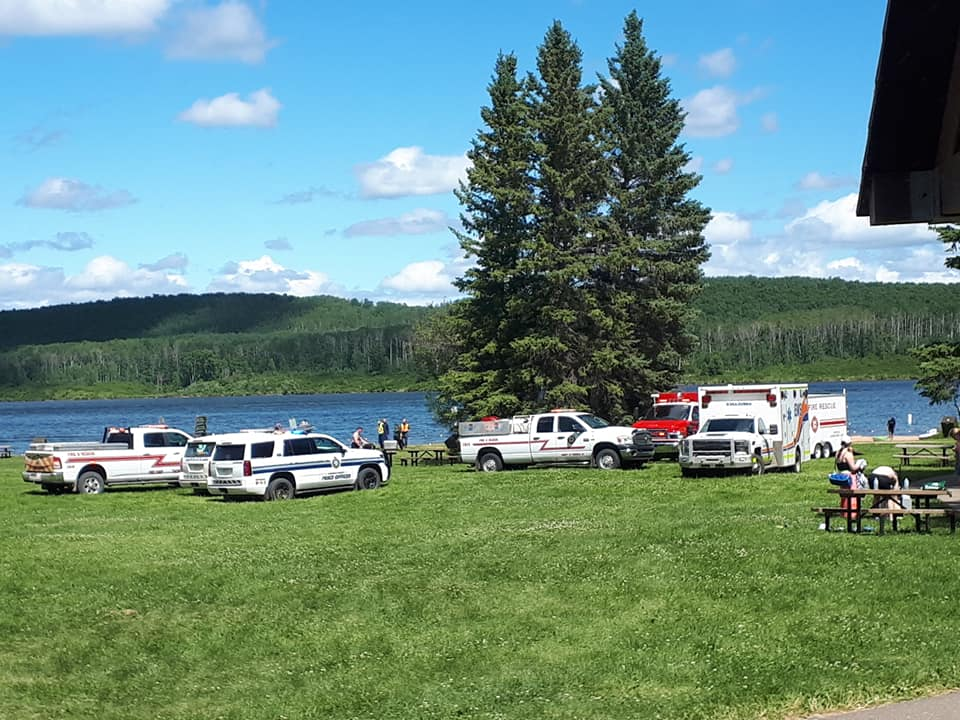 Emergency vehicles were on scene at Long Lake, Alta. on Saturday afternoon.