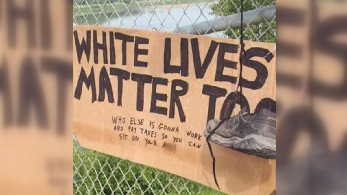 The sign left on the Muskoday First Nation.