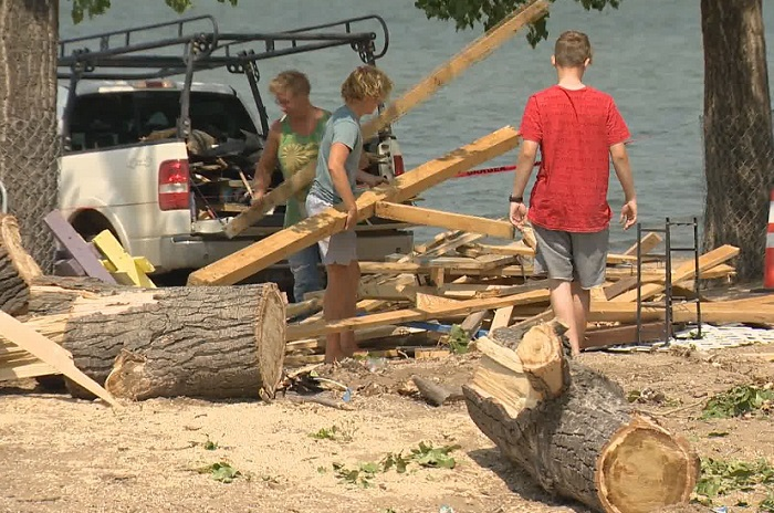 Regina Beach residents pitched in on clean-up efforts throughout the community on Monday morning following a storm on Sunday night.