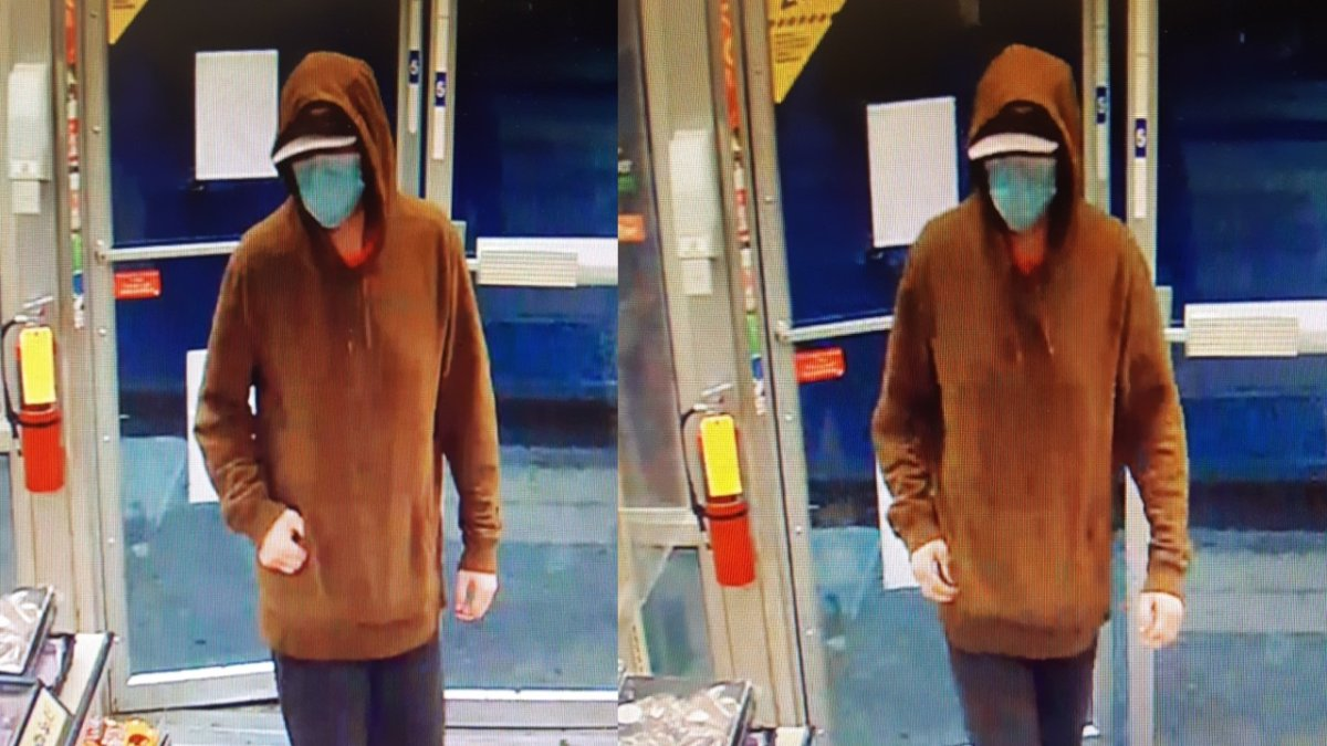 The Calgary Police Service released these photos of a man they believe is connected to a string of nine robberies in east Calgary during June and July 2021.