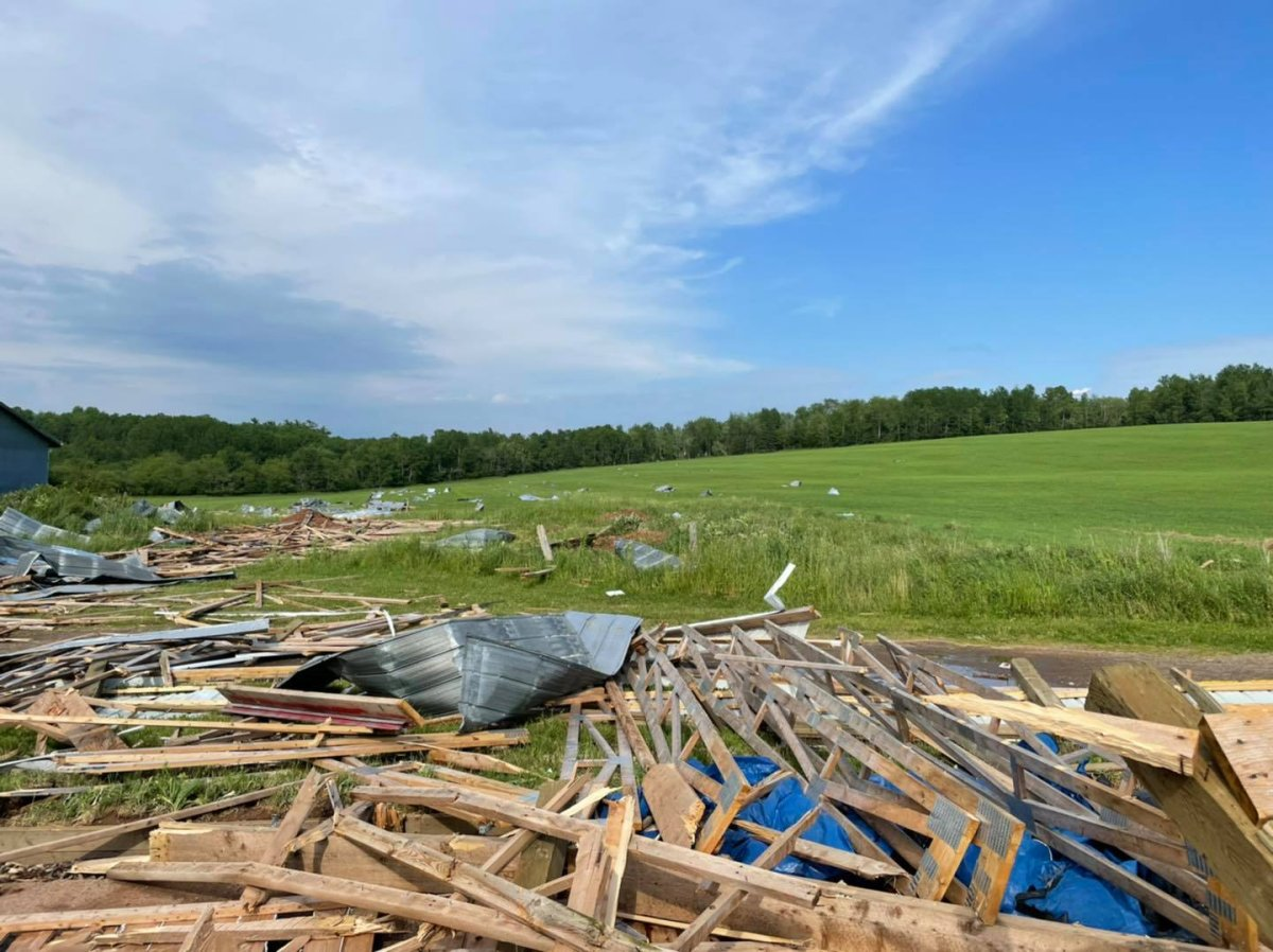 A damaging storm swept through Stewiacke, N.S. on June 30, 2021. The barn pictured here was completely destroyed.