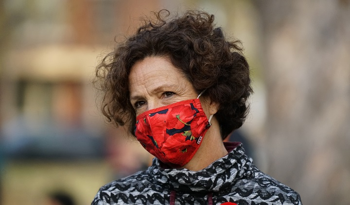 Borough mayor for Cote-Des-Neiges Sue Montgomery wearing a mask in Montreal, Que., Sunday, November 8, 2020.