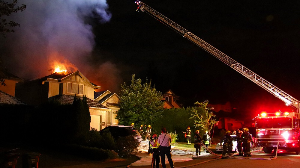 Crews battled a fire in Surrey on July 8, 2021.