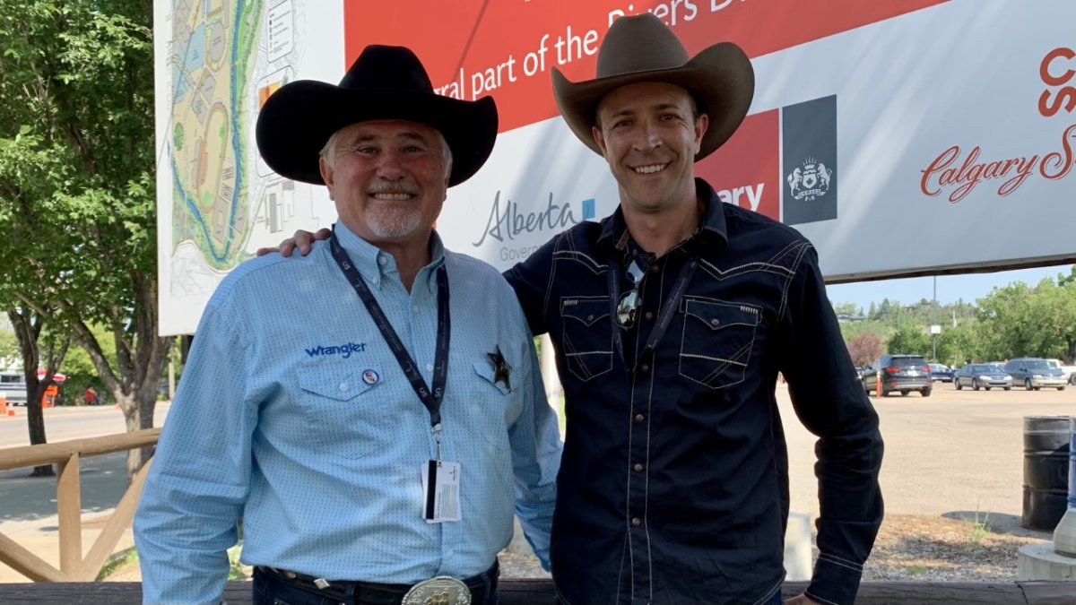 Coun. Ward Sutherland, L, is joining Jeff Davison's mayoral campaign as senior advisor. Sutherland, pictured on July 13, 20201, made the announcement with Davison outside the grounds of the Calgary Stampede.