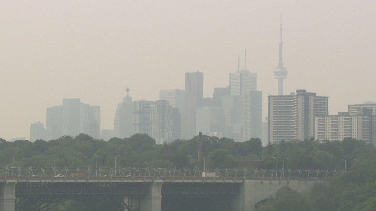 Hazy Toronto skyline.
