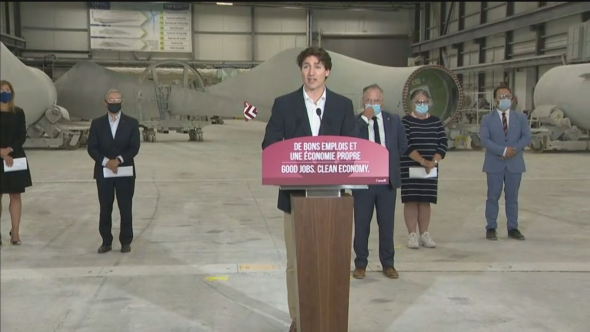 Prime Minister Justin Trudeau speaks to workers of the LM Wind Power plant during a news conference, Wednesday, July 14, 2021 in Gaspe, Que. Trudeau.