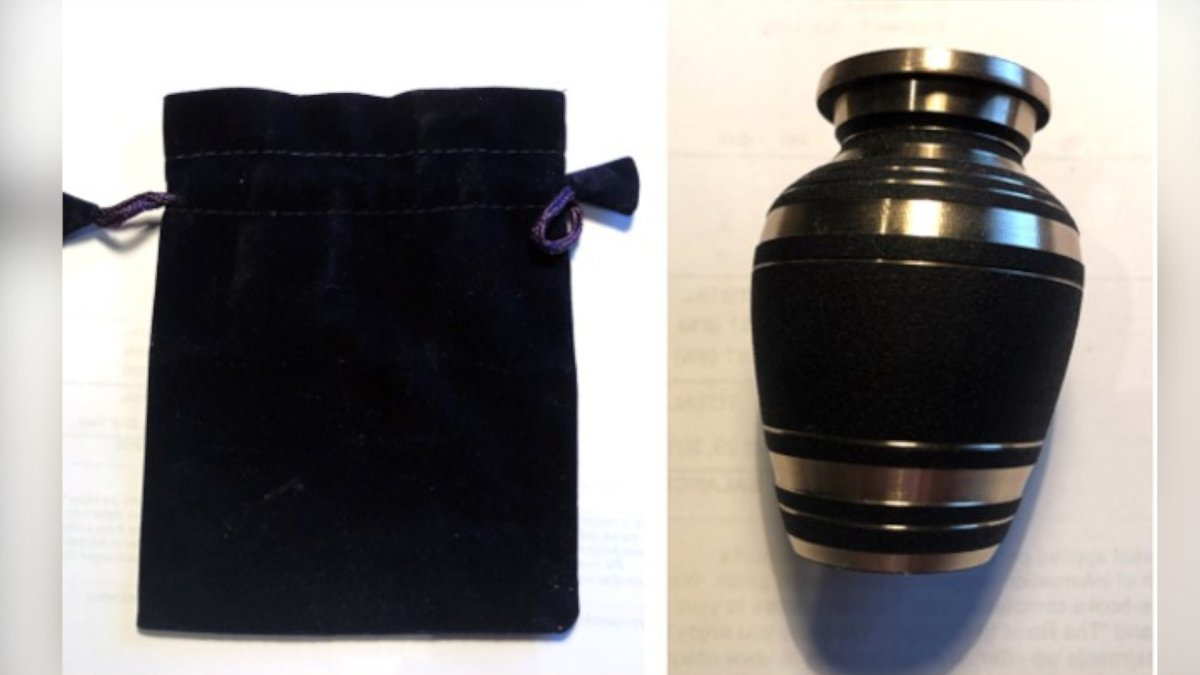 Police say an urn with the remains of a woman's deceased husband was stolen from a vehicle in St. Catharines on July 3, 2021.