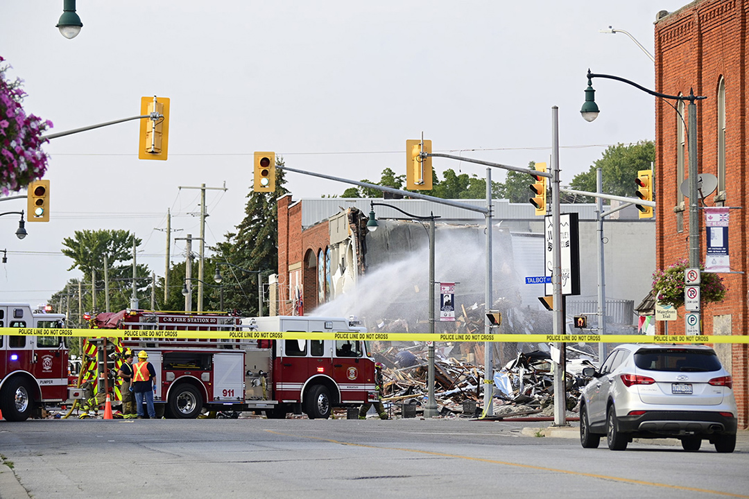 The scene of the explosion in Wheatley, Ont., Aug. 26, 2021.