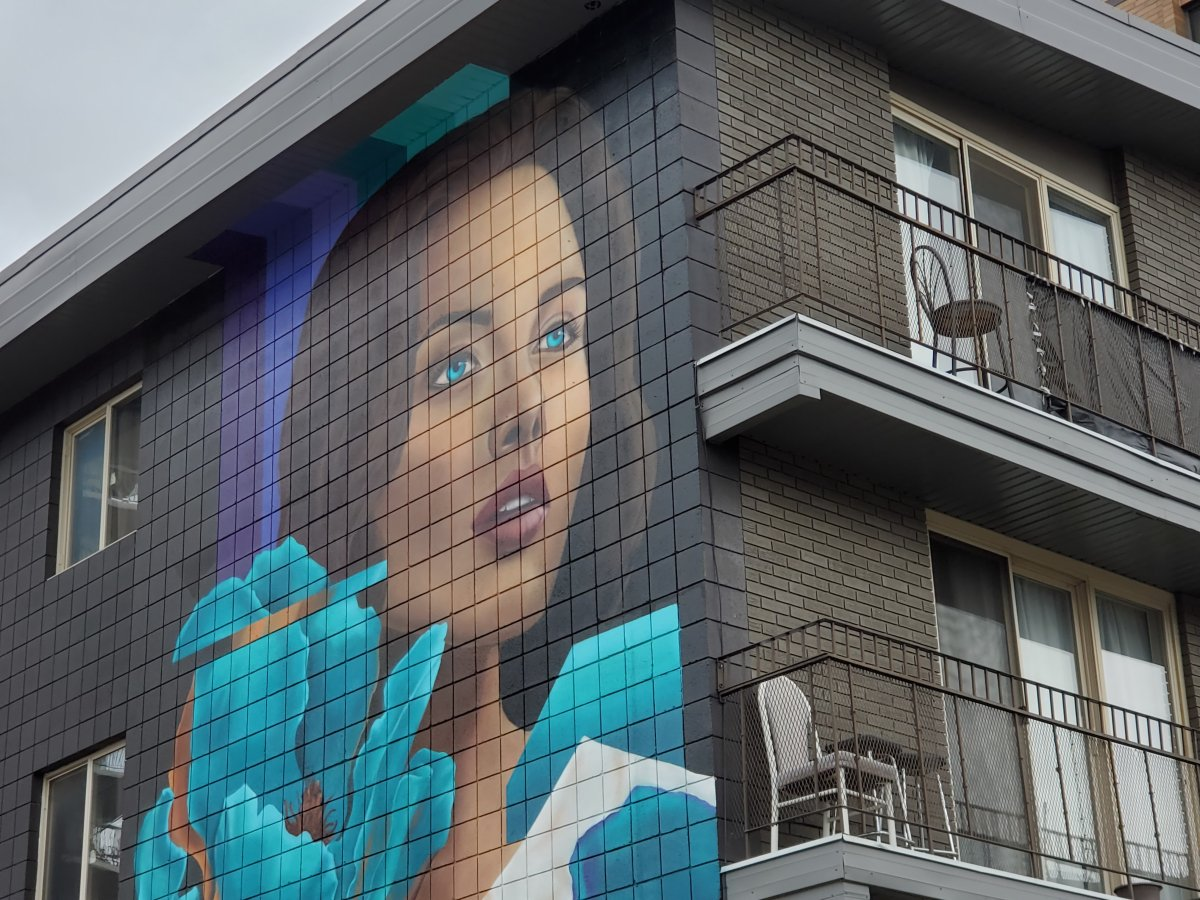 """The """"New Paradigm"""" piece featured in the Beltline Urban Murals Project in Calgary, located at 1338 16 Ave. S.W. by Tiziano and Desiree."""