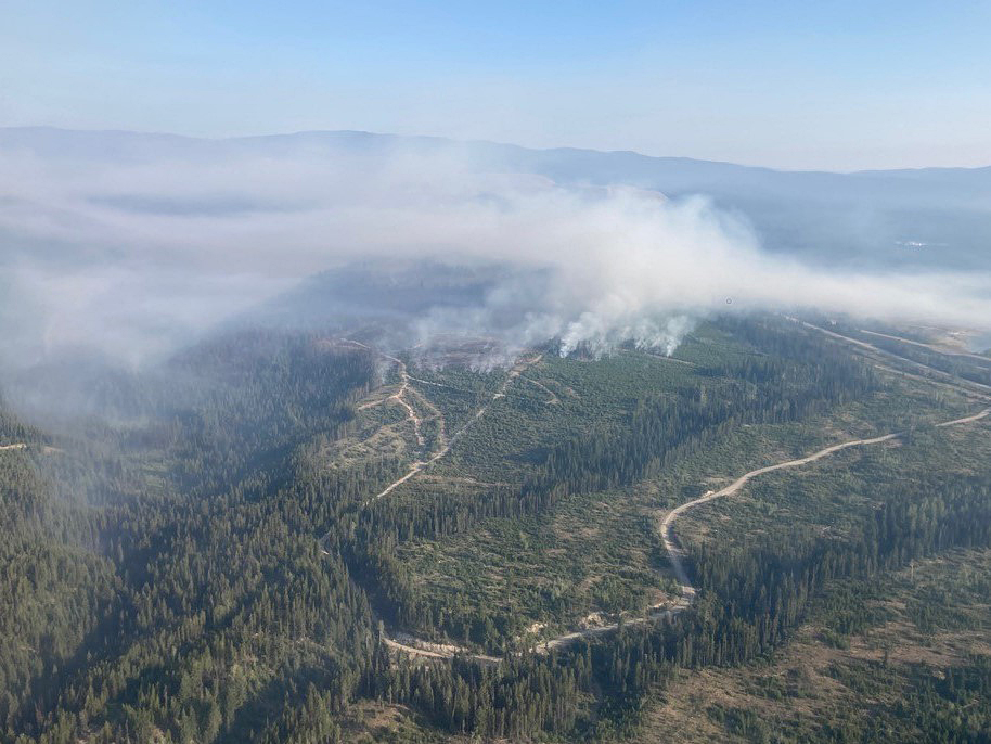 An aerial view of the Brenda Creek wildfire on July 26.