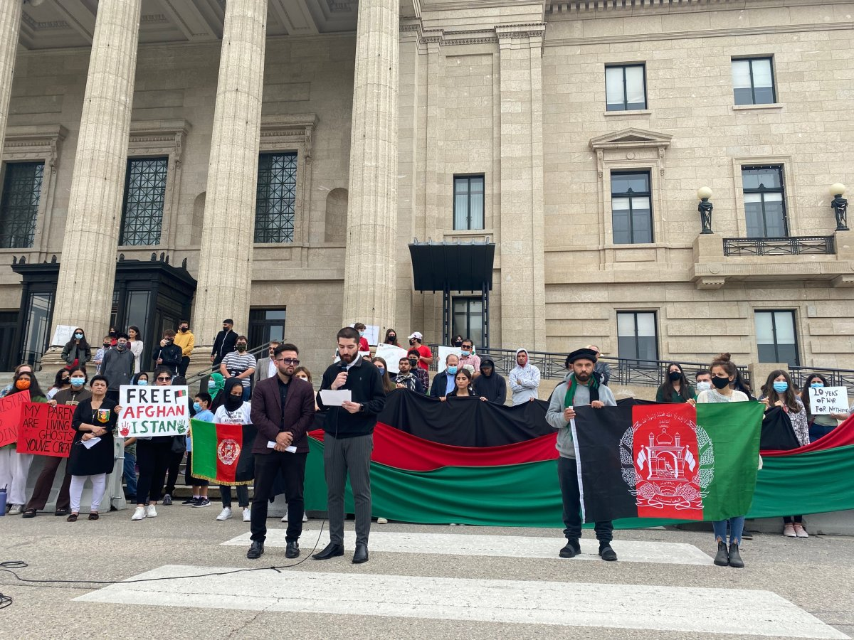 Several dozen people took to the steps of the Manitoba legislative building Saturday afternoon to raise awareness of the crisis unfolding in Afghanistan.