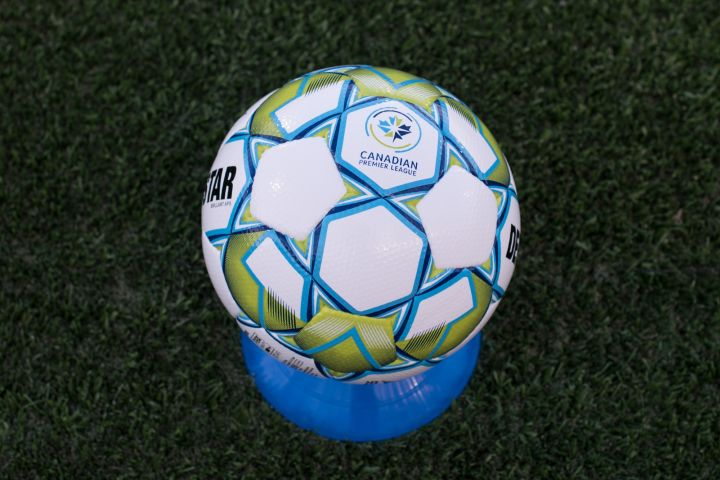 A game ball for the Canadian Premier League is seen during a match between York United FC and Forge Hamilton FC in CPL soccer action at York Lions Stadium in Toronto on Friday, July 30, 2021.