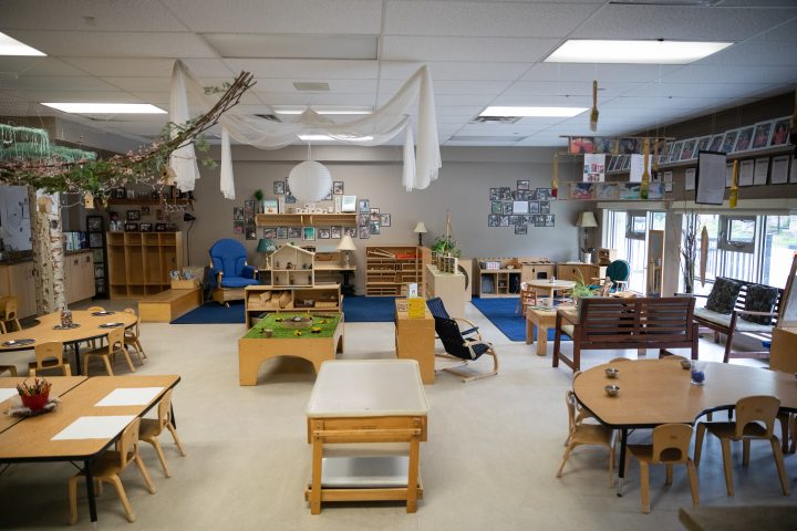 An empty pre-school room at Compass Early Learning & Care in Bowmanville, Ont.