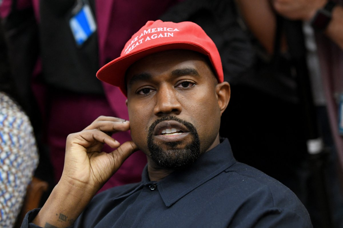 File photo of Artist Kanye West looks on in the Oval Office of the White House during a meeting with President Trump to discuss criminal justice system and prison reform on October 11, 2018 in Washington, DC.