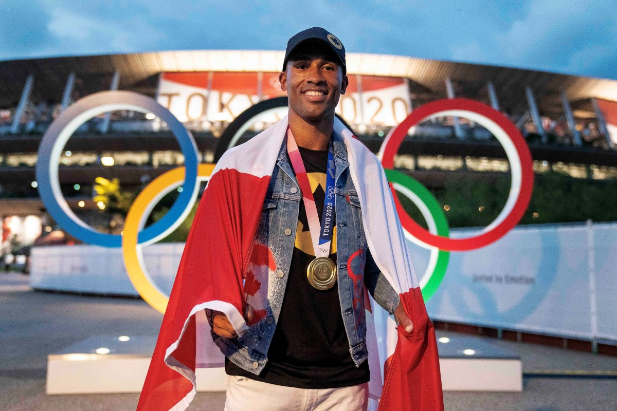 Canadian Decathlon gold medal winner Damian Warner poses for a photo at the Tokyo 2020 Olympic in Tokyo, Japan on Saturday, August 7, 2021.