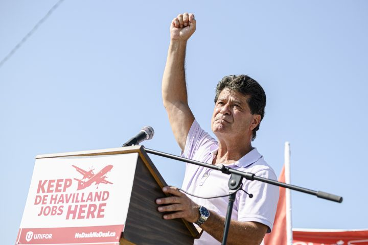 President of Unifor Jerry Dias makes remarks to the De Havilland picket line at the Downsview plant in Toronto on Tuesday, August 24, 2021. Dias said at the north Toronto rally that he and the 700 workers represented by Unifor Local 673 and 112 are determined to get the company back to the bargaining table and closer to an agreement that is fair to staff.