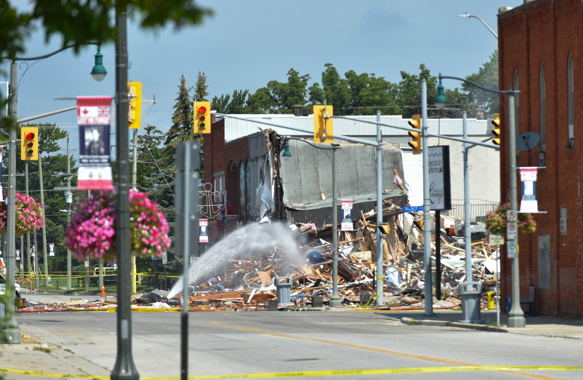 Chatham-Kent fire on the scene of a gas explosion in Wheatley, Ont., Friday, Aug. 27, 2021.