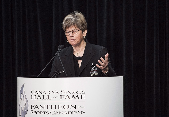 Inductee to Canada's Sports Hall of Fame Jocelyne Bourassa, Golf Builder, speaks at a press conference in Toronto on Wednesday, October 21, 2015.