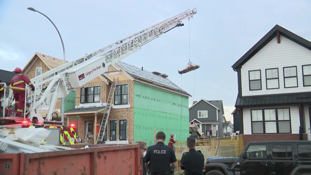 A Calgary construction worker fell from the roof he was working on into the open basement of the under-construction home next door at 500 block of Masters Road SE. in the Mahogany neighbourhood on Thursday, August 26, 2021.