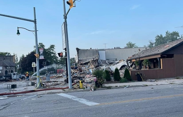 Damaged buildings can be seen in Wheatley, Ont.