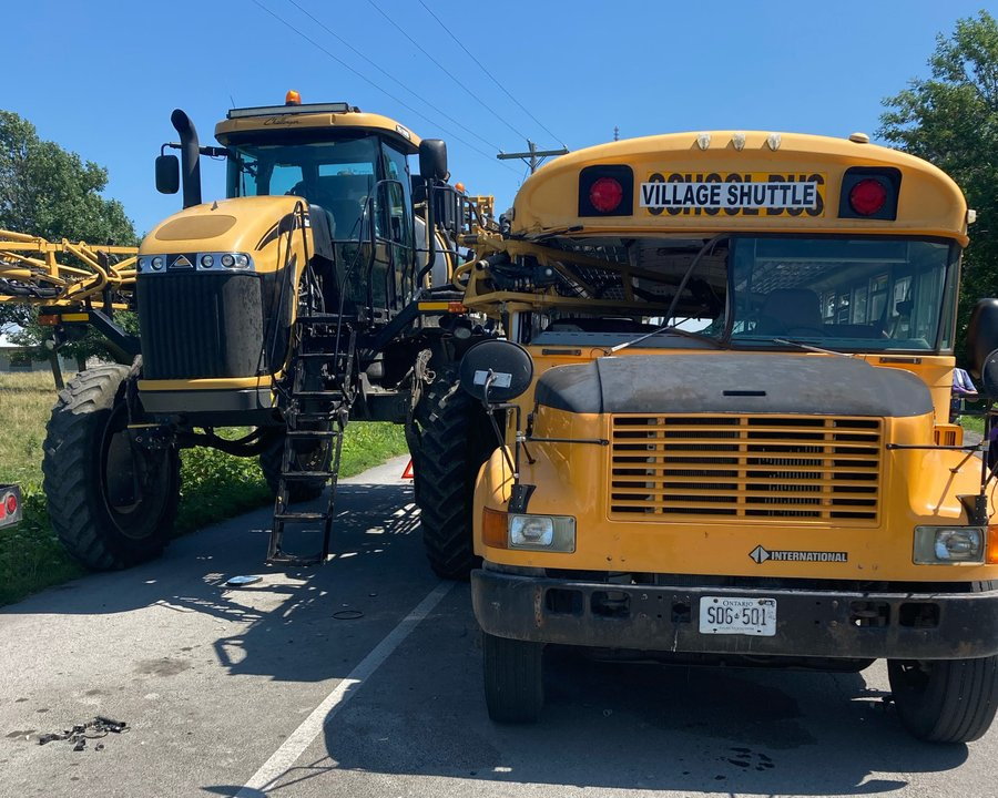 Frontenac Paramedics say four people were transported to hospital after a collision between a crop sprayer and the Dawson Point-Marysville shuttle bus.