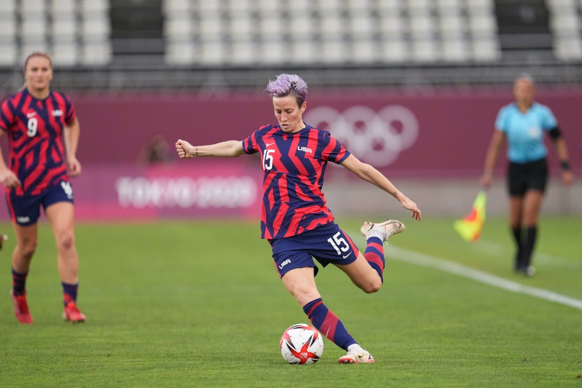 Megan Rapinoe #15 of the United States during a game between Australia and USWNT at Kashima Soccer Stadium on August 5, 2021 in Kashima, Japan.