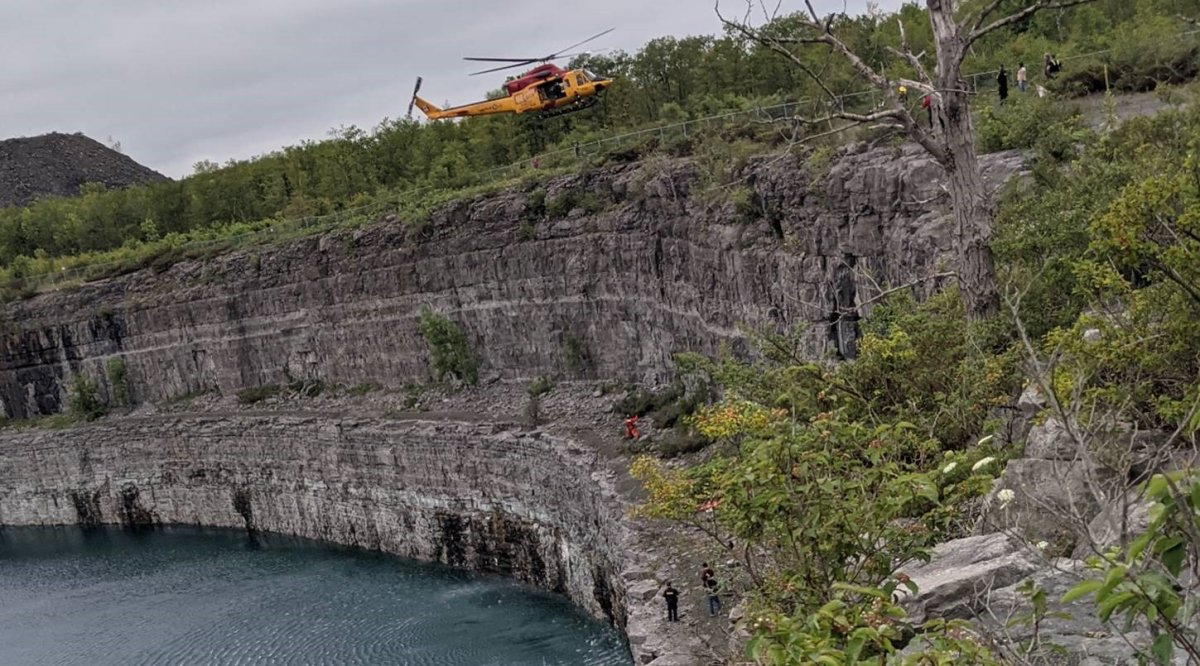 A person was rescued after falling while climbing a cliff of the Marmora Mine on Saturday.