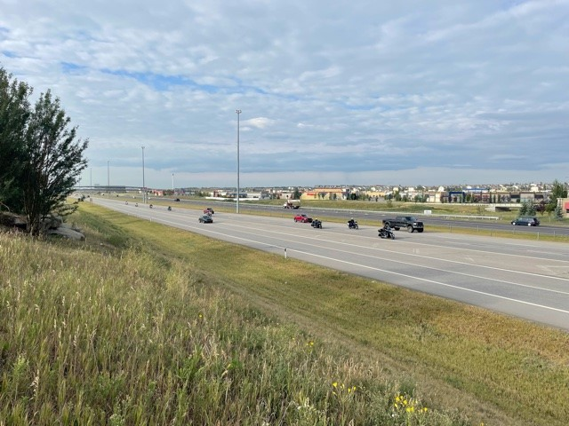 The QEII highway in Airdrie, Alta, on Saturday, August 21, 2021.