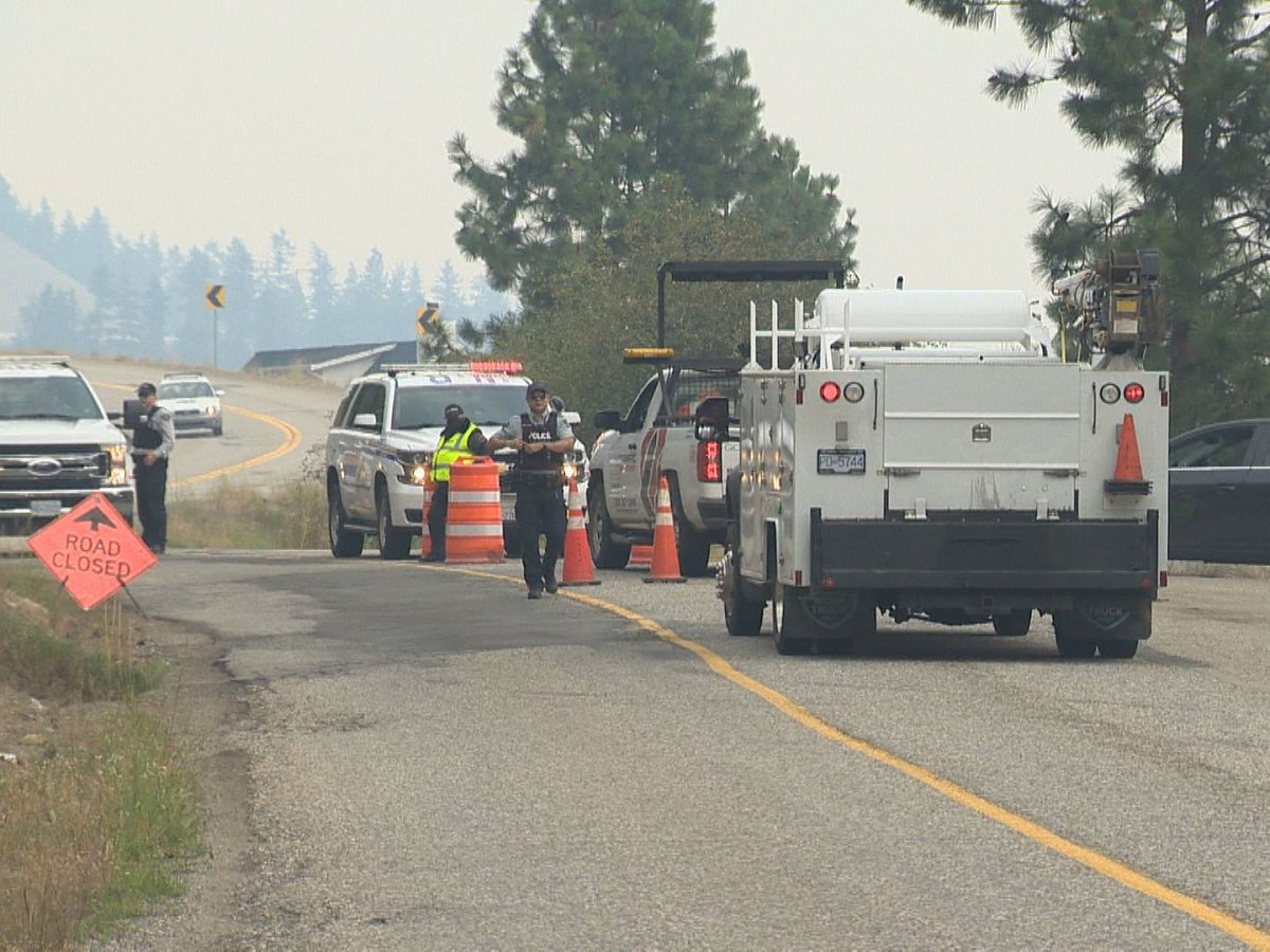 A roadblock along Westside Road due to an evacuation order. Police say additional resources have been heavily focused lately on doing roving patrols in evacuated areas, primarily in unmarked vehicles.