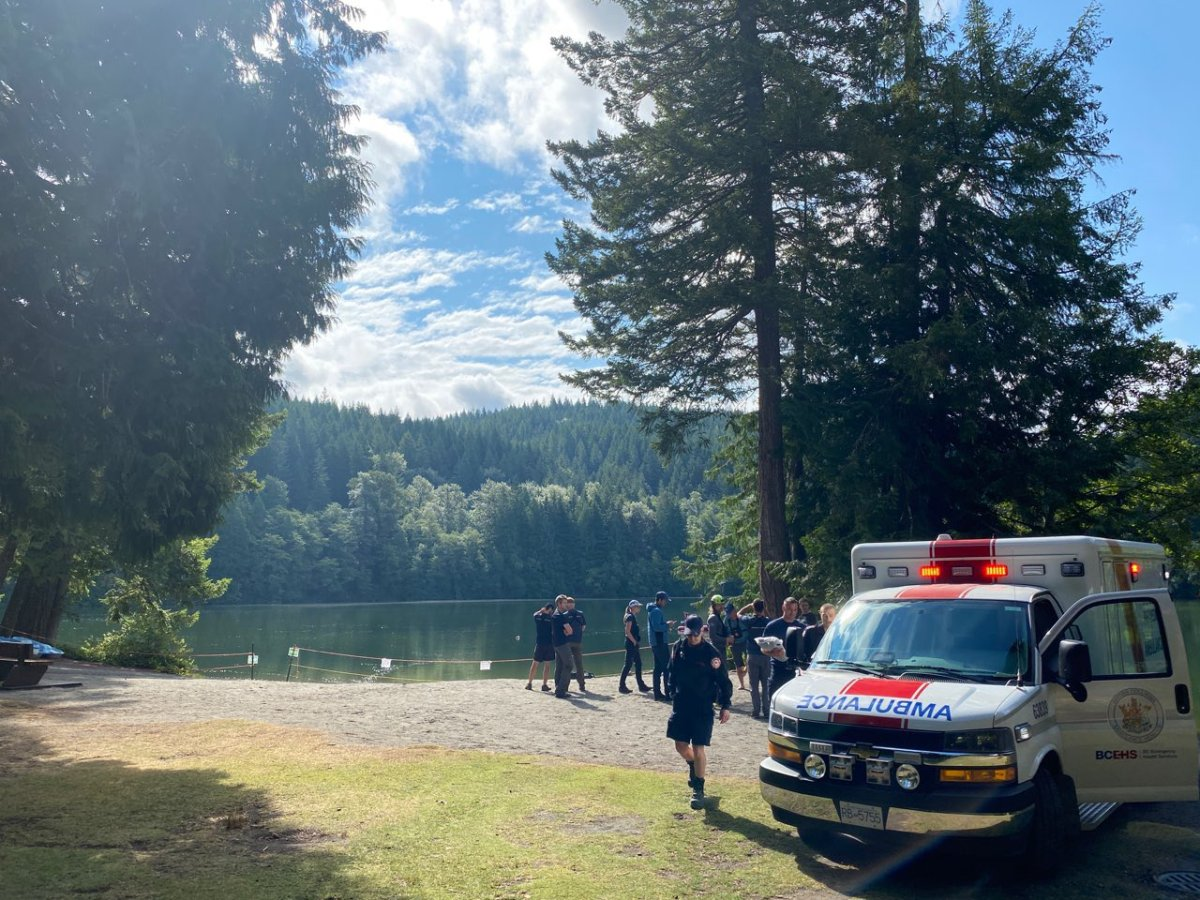 Paramedics and rescue crews seen at Alice Lake on Sunday. The location was closed on Sunday, according to RCMP.
