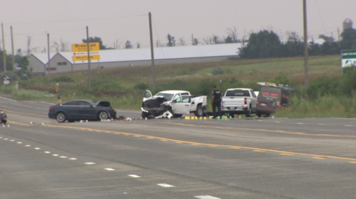 The scene of the crash in the area of Highway 50 and Countryside Drive on Tuesday.
